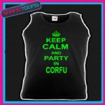 KEEP CALM AND PARTY IN CORFU HOLIDAY CLUBBING STAG PARTY UNISEX VEST TOP